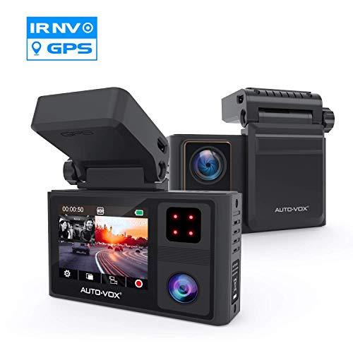 AUTO-VOX Dashcam Auto Vorne und Hinten mit eingebautem GPS, FHD 1080P Dual Dashcam mit Infrarot Nachtsicht, Autokamera mit WDR, Parküberwachung, G-Sensor, Notfallaufnahme, Loop-Aufnahme