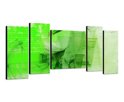 Wandbild 5teilig Gesamtmaß ca. 130x60cm Abstrakte Malerei Optik wie handgemalt Bilder fertig gerahmt mit Keilrahmen riesig. Ausführung Kunstdruck auf Leinwand. Günstig inkl Rahmen (Giclée Leinwand Print Brillanter)