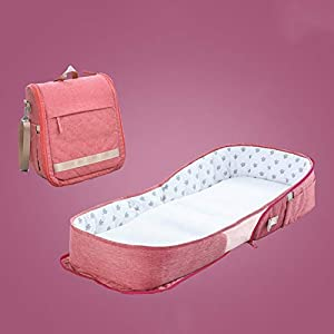 TINGYIN Collapsible Travel Cot - portable travel bassinet Sleeping Pod Infant Sunbed bed canopy cot Nest, Multifunction Bionic Baby Crib Safety Isolation Bed, for Newborn Baby - B   3