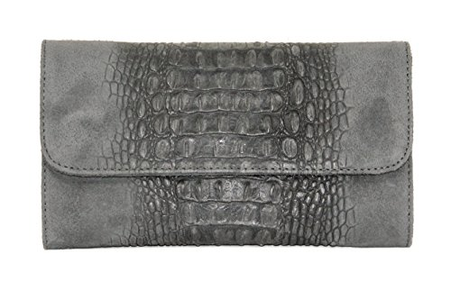 Limited Colors Damenhandtasche Clutch LULU Leder Kroko Optik mit Kette (Grau)