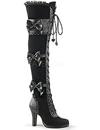 Demonia Damen Steampunk-Overkneestiefel mit Spitze Glam-300