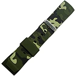 New 22mm Curved Rubber Strap Watch Band Green Camouflage Military Army Buckle