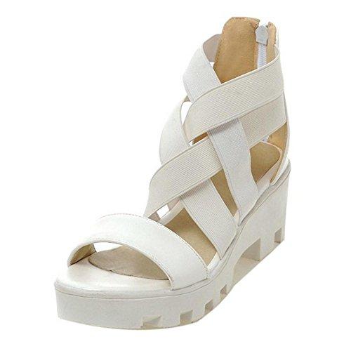 TAOFFEN Femmes Occidental Peep Toe Sandales Bloc Talons Moyen Fermeture Eclair Plateforme Chaussures Blanc