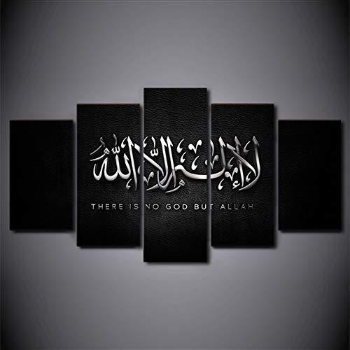 FJLOVE Foto Auf Leinwand Islam Kalligraphie Aus Dem Koran 5 Teilig Bilder Auf Wandbild Modern Kunstdruck Wanddekoration Bild Canvas,Frameless+A,150X80cm(Large)