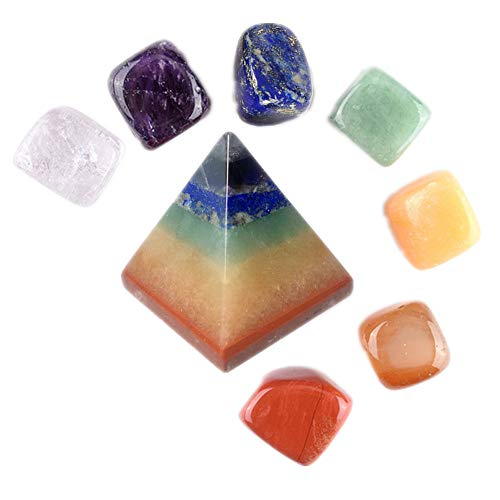 Aitelei kit di guarigione naturale in cristallo - 7 pietre chakra burattate e piramide incisa a chakra pietra di cristallo di guarigione reiki