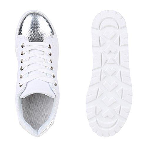 Damen Sneakers Plateau Keilabsatz Metallic Zipper Schuhe Weiss Plateau