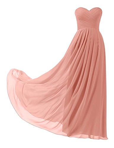 Trägerlos Lange Abendkleider Elegant Chiffon Brautjungfernkleider Ball Abiball Abschlusskleid 139