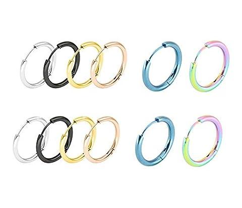 Aooaz Femme 6 Paires Boucles d'oreilles 16mm Acier Inoxydable Boucles d'Oreilles Noir Or Or Rose Argenté Bleu