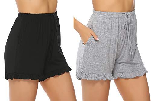 Hawiton Damen Schlafanzughose Pyjamahose Kurz Baumwolle Nachtwäsche, Uni-schwarz&grau, Gr.- L - Damen Kurze Hose