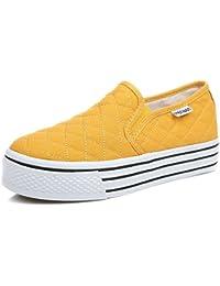 SHOWHOW Damen Strass Mehrfarbig Plateau Sneakers Freizeitschuh Gelb 36 EU