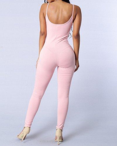 Donna Jumpsuit Tank Senza Schienale Puro Colore Playsuit Sottile Monopezzi E Tutine Pink