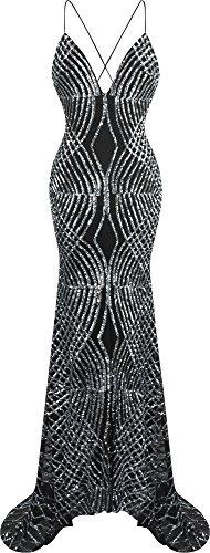 Angel-fashions Damen Spaghetti-Bügel Paillette V-Ausschnitt Meerjungfrau Sweep Zug Ballkleid (XL, Silber)