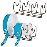 mDesign Set da 2 Porta coperchi pentole – Porta padelle compatto per pensili e ripiani in cucina – Portacoperchi salvaspazio in metallo con 6 scomparti – bronzo