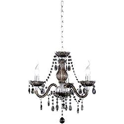 Reality Luster - Lámpara colgante de 3 luces. Necesarias 3 bombillas E14 de máximo 40W excluidas. Cuerpo acrílico color negro.