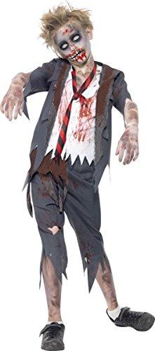 Zombie Schuljunge Halloween Kinderkostüm grau-weiss 122/134 (7-9 (Halloween Kostüm Schuljunge)