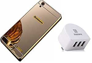 D'clair premium Luxury Metal Bumper Cover Case and Remax Three Port Wall Charger For Lenovo A6000