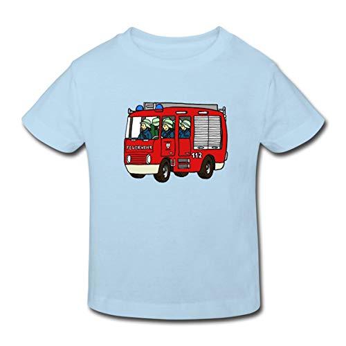 Continental Mädchen T-shirt (Spreadshirt Feuerwehrauto Kinder Bio-T-Shirt, 98/104 (3-4 Jahre), Hellblau)