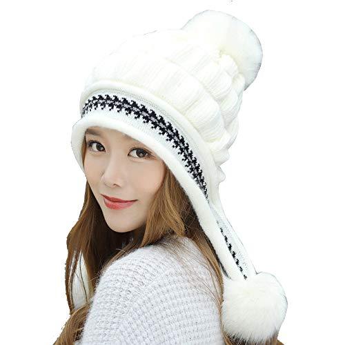Tukistore Cappello Berretto Donna Inverno Elegante Beanie Lana Maglia Berretto maniche lunghe per berretti invernali Cappelli Donna Invernali Pon Pon