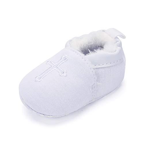 LACOFIA Baby Jungen Mädchen Taufe Schuhe Winter Warm Weiche Sohle Weiß Kreuz Bestickte Taufe Schuhe 12-18 Monate