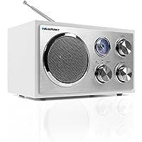 Blaupunkt Retro Radio rxn 19 nostalgie Diseño de radio con puerto USB 2.0y lector de tarjetas SD, Sintonizador de FM/FM Radio   maletín Radio de cocina con estructura de madera, antena telescópica, analógico, iluminado emisor Escala