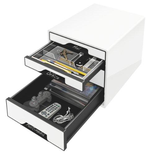 2 Schubladen Cube (Leitz 52521001 Schubladenbox (Cube 4, Schubladen) weiß)