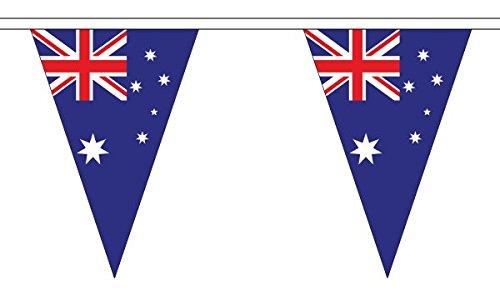 20m 54(29,8x 19,1cm) Australien Triangle Die dreieckige Flagge 100% Polyester Material Wimpelkette ideal Party Dekoration für Street House Kneipen Vereine Schulen St. Davids Tag