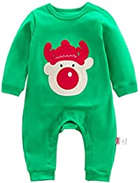 Bebés Ropa de Navidad Pijamas - Highdas Recién nacido Niñas Niños trajes Algodón Manga larga infantil Animal historieta Disfraces Sleepsuit 0-12 Meses