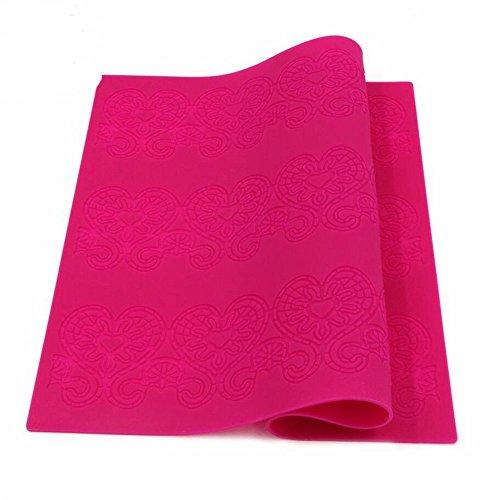 39x28.5CM Grand Amour en Forme de Cœur Gâteau Dentelle Tapis DIY Savon Fondant Cupcake Silicone Moules pour Décoration Sucre Glacé Cuisson Plats à Four Cuisine Artisanat Coussinet - Rose rouge