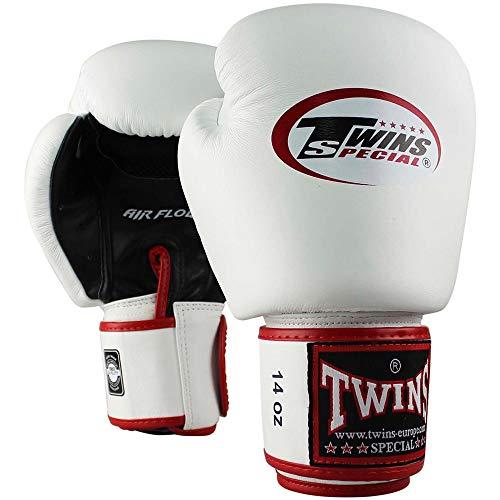Twins Special Boxhandschuhe, Leder, AIR, weiß-schwarz Größe 12 Oz