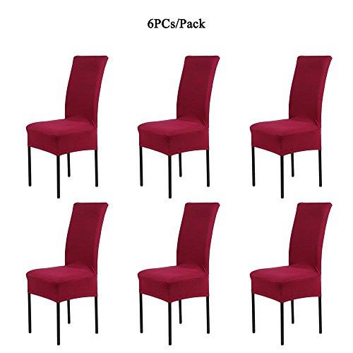 Cosyvie Set 6 PCS Bezüge Decken-Stuhl ausziehbar und waschbar für Schutz Stuhl Esszimmer Weinrot