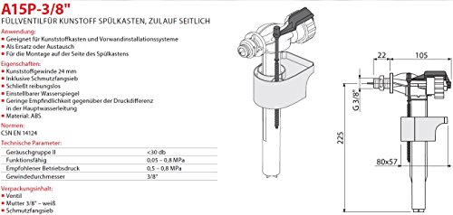 """Füllventil für WC- Spülkasten 3/8"""" Füll-Ventil Anschlußgewinde Seitlich Neu Schwimmerventil Gewindeendung"""