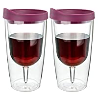 Merlot Red Insulated Wine Tumbler - Double Wall Acrylic - 10oz, Set of 2 12