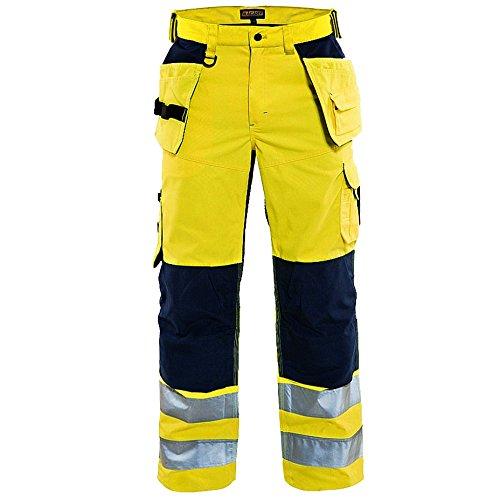 Blakläder taglia 156518113389C64C64ventilata ad alta visibilità pantaloni artigiano–giallo/blu navy