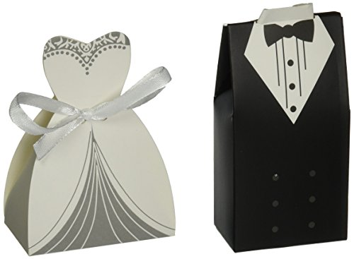 Olia Design 100 Pairs Of Wedding Party Favor Boxes Creative Tuxedo Dress Groom Bridal Candy Gift Box With Ribbon 100 Pairs