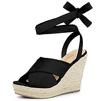bb9850673b7 Allegra K Women's Espadrille Crisscross Platform Wedges Heel Lace Up ...