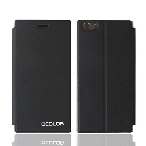 Guran® PU Leder Tasche Etui für DOOGEE Y300 Smartphone Flip Cover Stand Hülle Case-schwarz