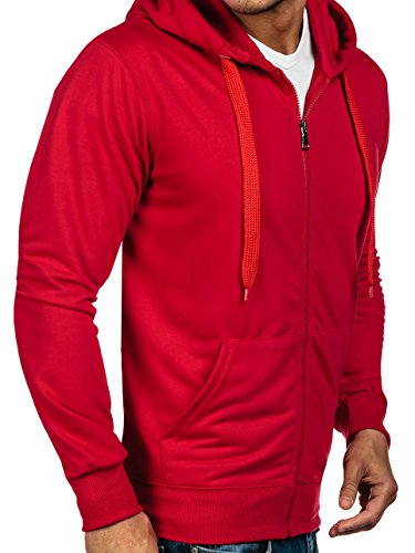 BOLF - Felpa - Pullover - Manica lunga �?Maglione - Zip - Classic - Motivo - 1A1 Rosso