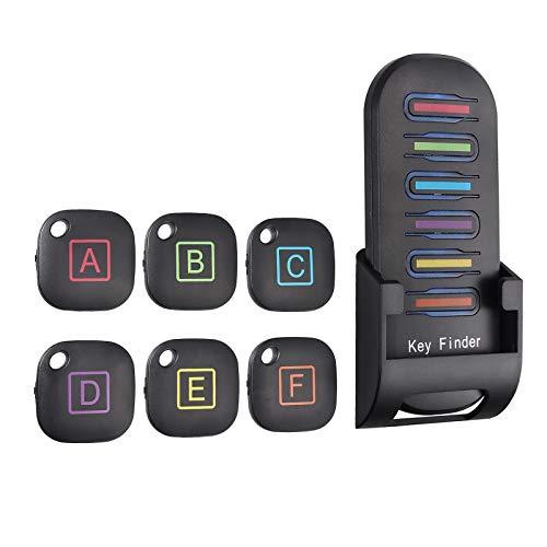 Neoteck 6 en 1 Buscador de Llaves Inalámbrica Localizador de Artículos con Alarma Anti Perdida de 80dB 1 transmisor de RF y 6 receptores Llaveros para Llaves Mascotas Monedero Teléfonos