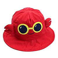 CAMLAKEE Kids Wide Brim Hat 3D Cartoon Bucket Hats Summer UV Protection Toddler Baby Sun Hat with Chin Strap Crab 6-12M