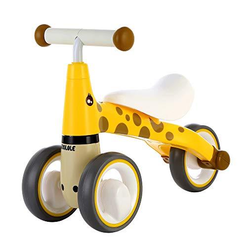 BEKILOLE Baby Sliding Bike Ride On Toy Bikes Bicycle Children No Foot Pedal Three Wheels  First Trike Toddler Bike 1 to 3 Years  Giraffe