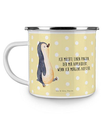 Mr. & Mrs. Panda Emaille Tasse Pinguin marschierend - 100% handmade in Norddeutschland - Frühaufsteher, Bruder, Tasse, Campingbecher, Kaffeebecher, Familie , Kaffeetasse, Becher, Langschläfer, Pinguin, , Camping
