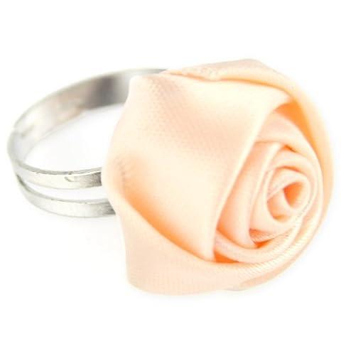 Satin Rose Ribbon Ring - Adjustable Band - Baby Peach