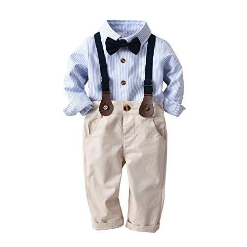 Backbuy 3 PCS Vêtements Suite Bébé Garçons T-Shirt Noeud Papillon Bleu & Marron Costume 90(2-3 Ans)