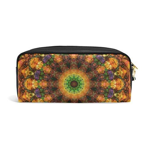 zzkko abstracto caleidoscopio funda de piel cremallera lápiz pluma estacionaria bolso de la bolsa de cosméticos bolsa bolso de mano
