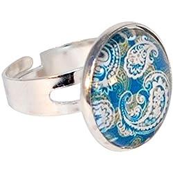 Creativa perlas–Anillo cabujón redondo azul verde diseño de indio blanco–Azul