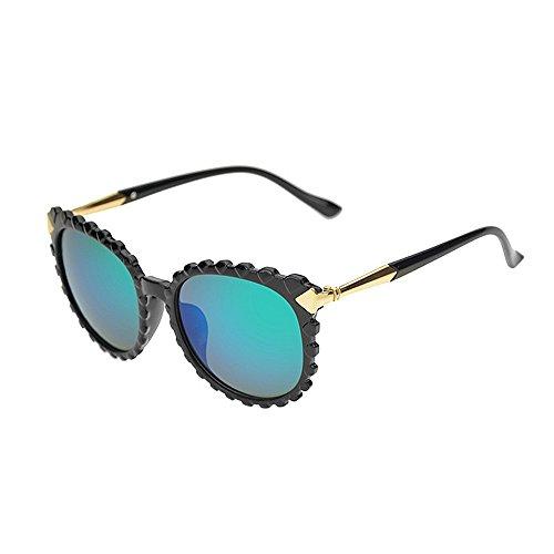 Sonnenbrillen Mode Damen-Sonnenbrille Persönlichkeit Wellenform für Frauen Kunststoffrahmen UV-Schutz Unisex-Sonnenbrillen umrandeten Sonnenbrillen für das Reisen bunte Linse ( Farbe : Grün )