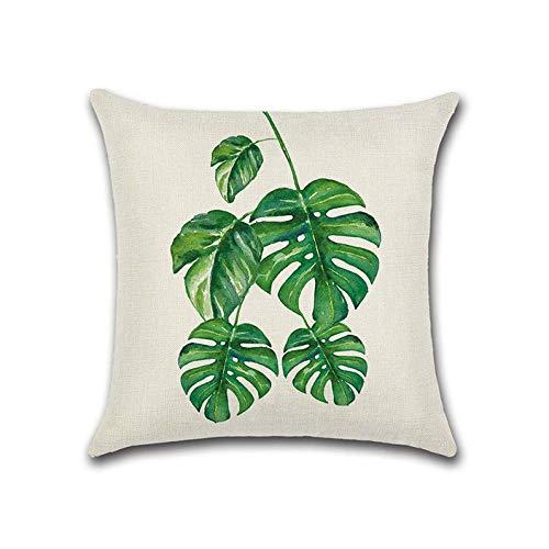 Tropical Beach Kissenbezug Rainforest Palm Banana Leaf Pattern, Sackleinen Leinen Kissenbezüge Kissenbezüge für Zuhause Sofa (B, 17.7 x 17.7) ()