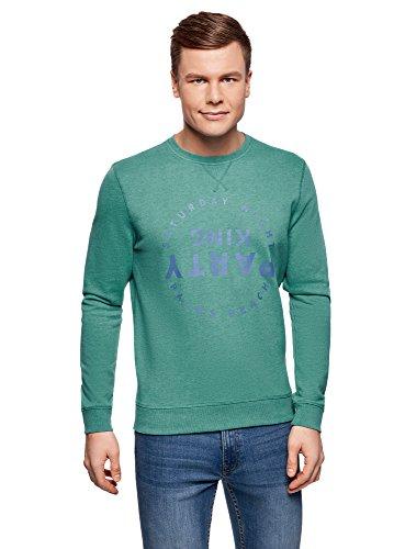 oodji Ultra Herren Gerades Sweatshirt mit Druck Grün (6275P)