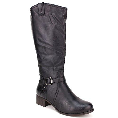 Cendriyon Botte Cavalière Noire Feels Mode Chaussures Femme Noir