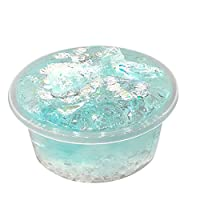 Dkings Beautiful Mermaid Tail Decor Mud Squishies Mixing Crystal Slime Putty Scented Stress Kids Clay Toy (Light blue)